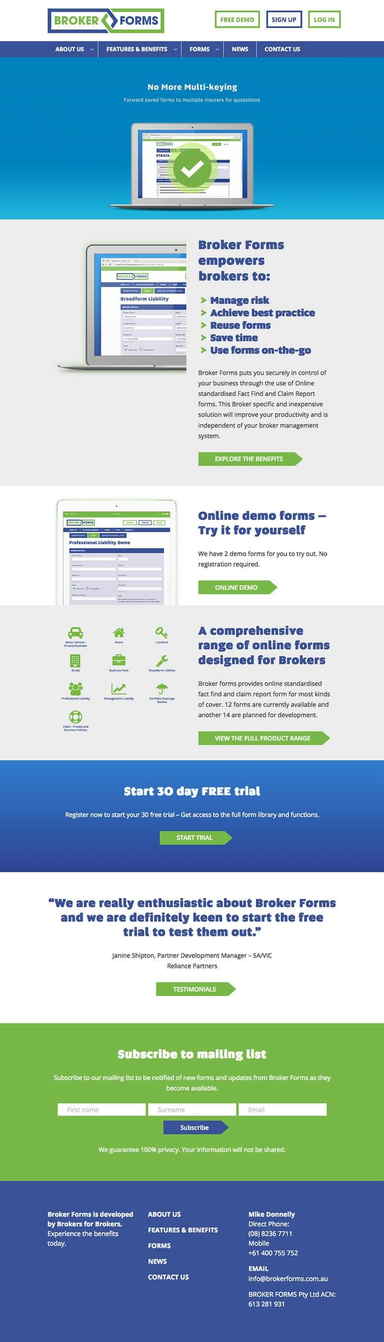 Broker forms - website