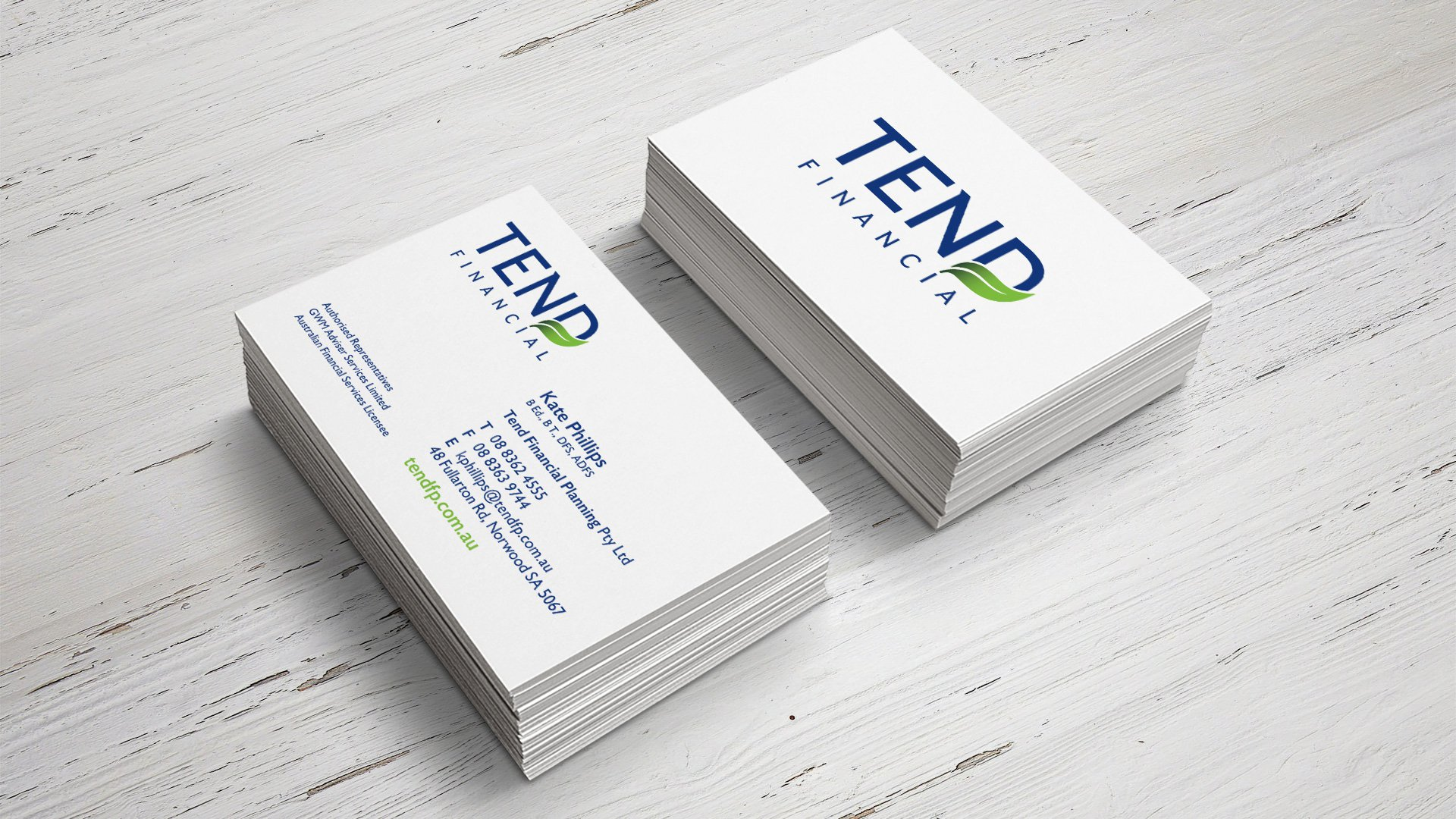 tend financial business card print design fig tree creative