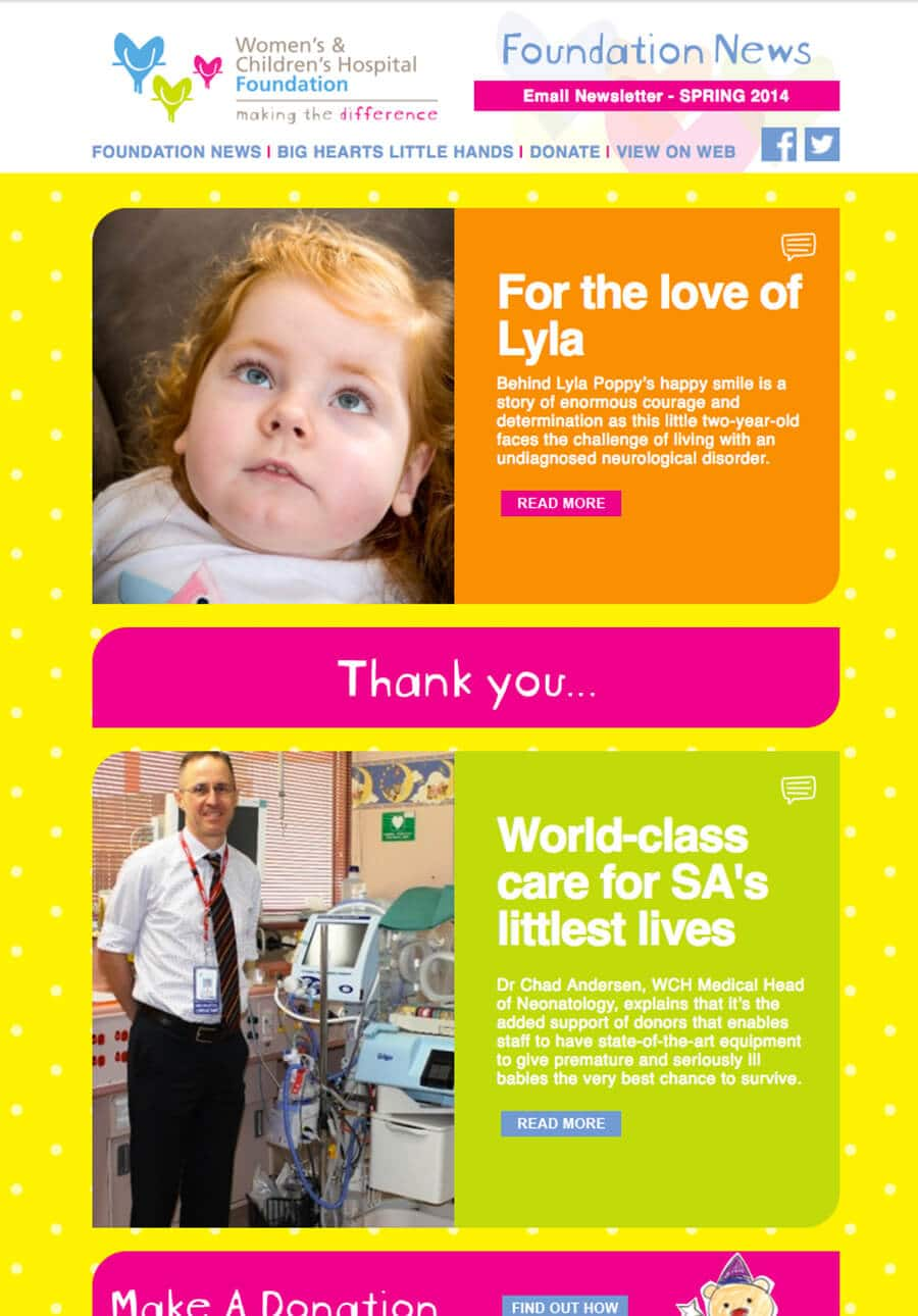 Womens children hospital Email Marketing
