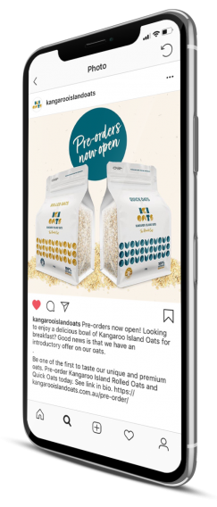 Kangaroo island oats food packaging design social media